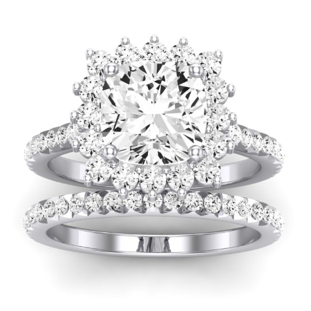 Gazania Moissanite Matching Band Only (does Not Include Engagement Ring) For Ring With Cushion Center Jewelry 1